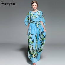 Svoryxiu Summer Runway Bohemian Maxi Dresses Women's Loose Short Sleeve Floral Print Beach Vacation Long Dress Vestidos   Belt