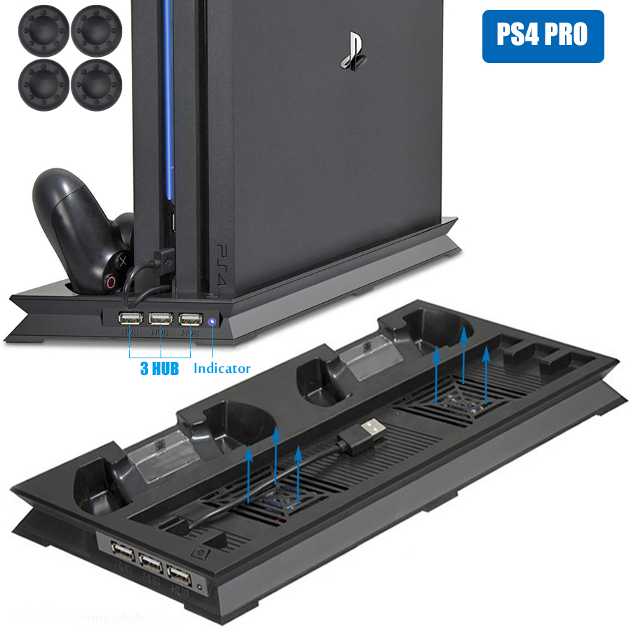 PS4 PRO Ultrathin Charging Heat Sink Cooling Fan Cooler Vertical Stand For Sony Playstation 4  Pro With Dual Controllers Charger