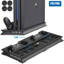 PS4 PRO ультратонкий зарядный теплоотвод охлаждающий вентилятор кулер вертикальная подставка для sony Playstation 4 Pro с двумя контроллерами зарядное устройство