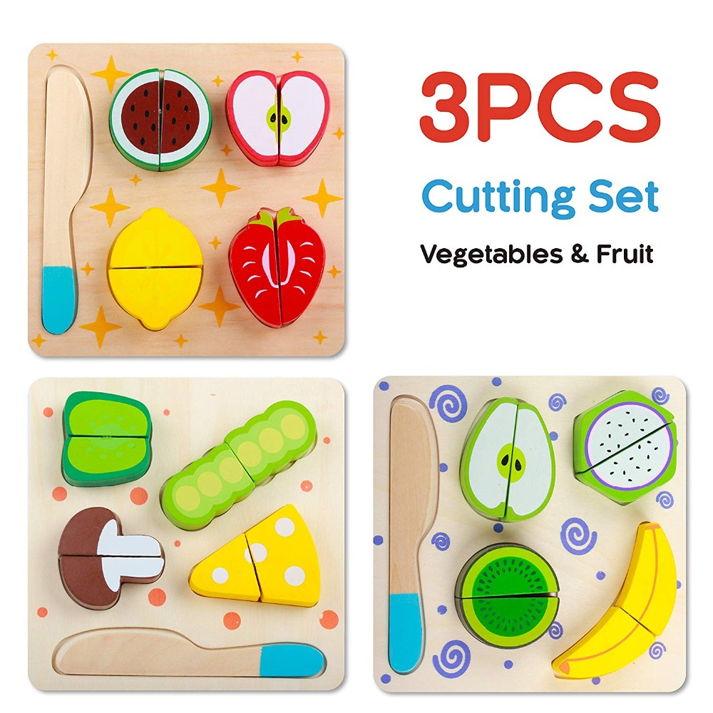 Wooden Cutting Block Game Wooden Pretend Play Cutting Fruit Food Set Kitchen Puzzle Toys with Chopping Block Knife for Toddlers