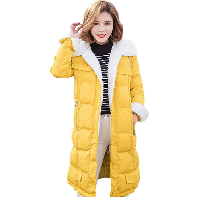 Warm Velvet S-XL Plus Size Winter Slim Solid Yellow Cotton Lady Jacket Coat For Women 98cm Long Parkas Women Cloth Coat myf3510
