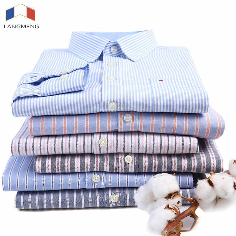 LANGMENG 2018 nueva llegada camisas de manga larga de hombre de algodón camisa de vestir Formal de moda masculina Slim Fit a rayas camisa Casual hombres