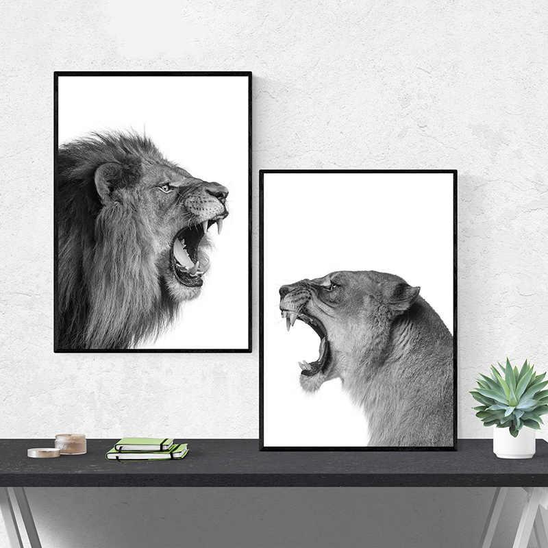 Настенная Картина на холсте HD печатает изображения для украшения дома Лев животное скандинавские современные черные белые Плакаты для гостиной модульная