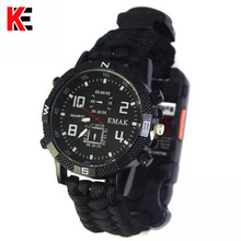EDC Outdoor Camping Multi-functional Watch Survival Compass Thermometer Rescue Rope Paracord Bracelet Equipment Tools kit