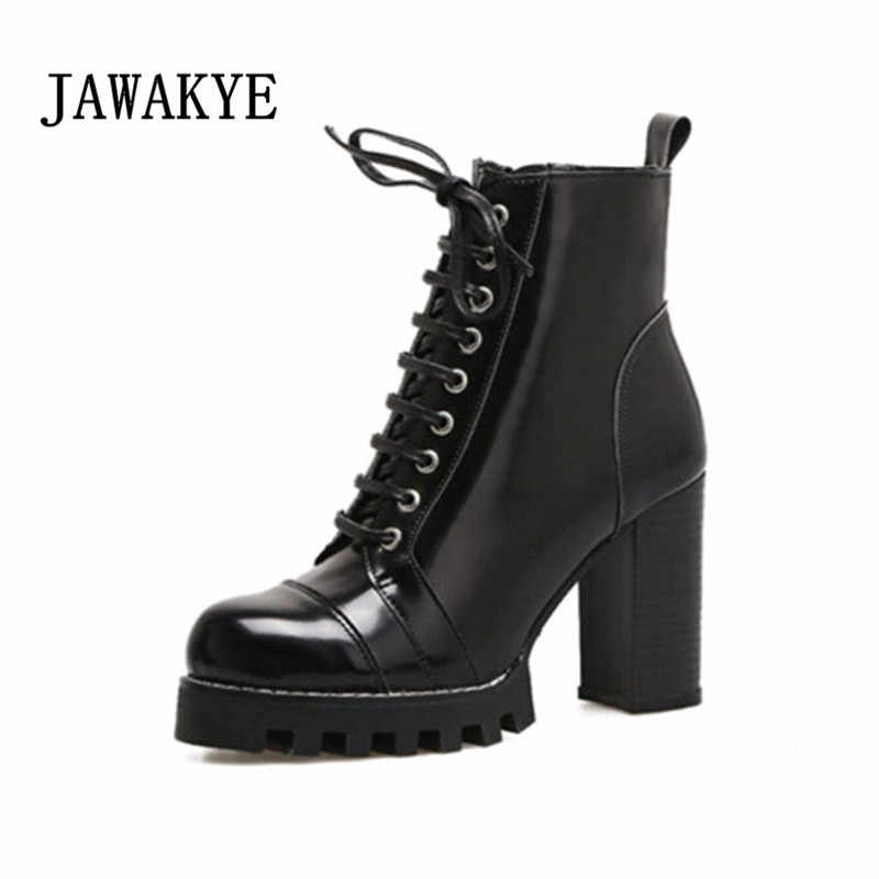 411a59ac2c5 Genuine Leather Platform Ankle Boots Women Thick Super High heels Short  Winter Shoes Lace Up Runway