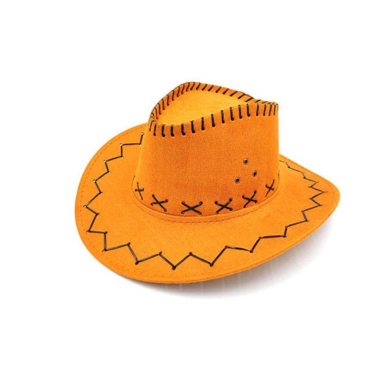 100pcs/lot Wide Brim Cowboy Hat Suede Look Wild West Fancy Dress Men Girls Solid Colors Gorros Cap Women's Hats Chapeau Femme 5