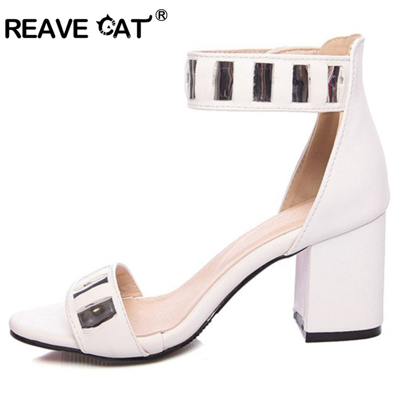 ce6b3c0ce68b09 REAVE CAT Women s Mid heels shoes Summer sandals Big size 34 46 Causal PU  Or Flock Buckle strap Black White Pink Wine QL6483-in High Heels from Shoes  on ...