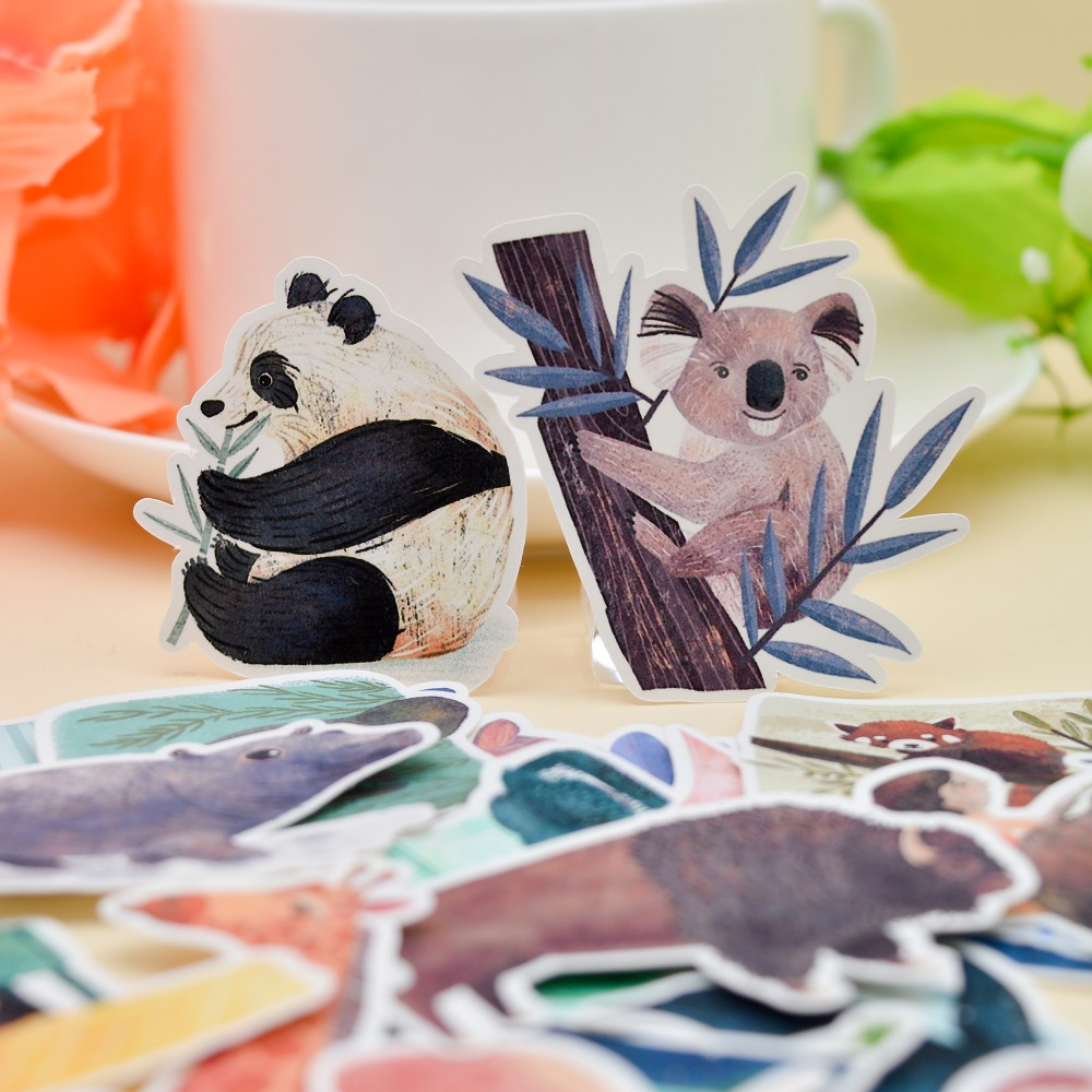 31pcs WaterColor Kawai Animal Zoo Sticker Koala Panda S Crafts  Scrapbooking Decorative Planner  Stationery Bullet Journal Stick