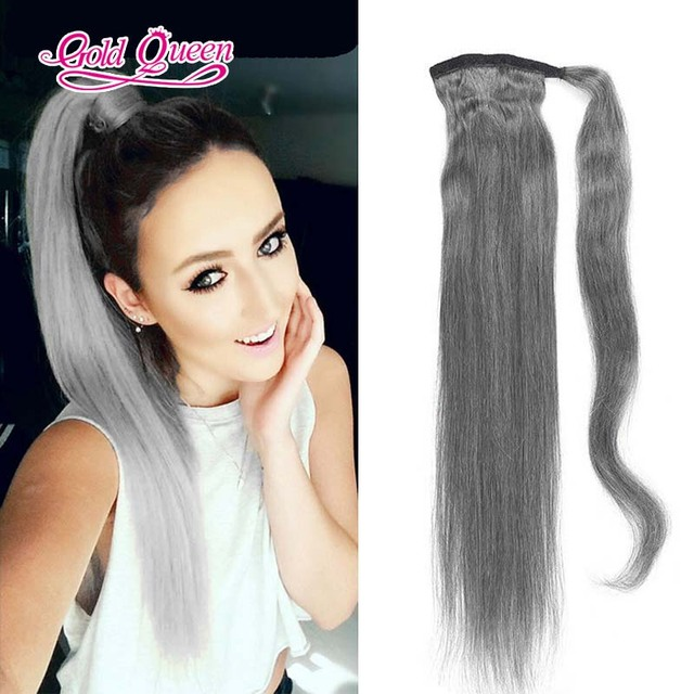 Grade 8a Brazilian Virgin Hair Ponytail Silver Grey Human Hair