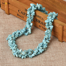 New Wholesale Women Fashion Necklace Natural Gravel Shape Irregular Dongling Blue Coral Bead Necklace 16 Inch