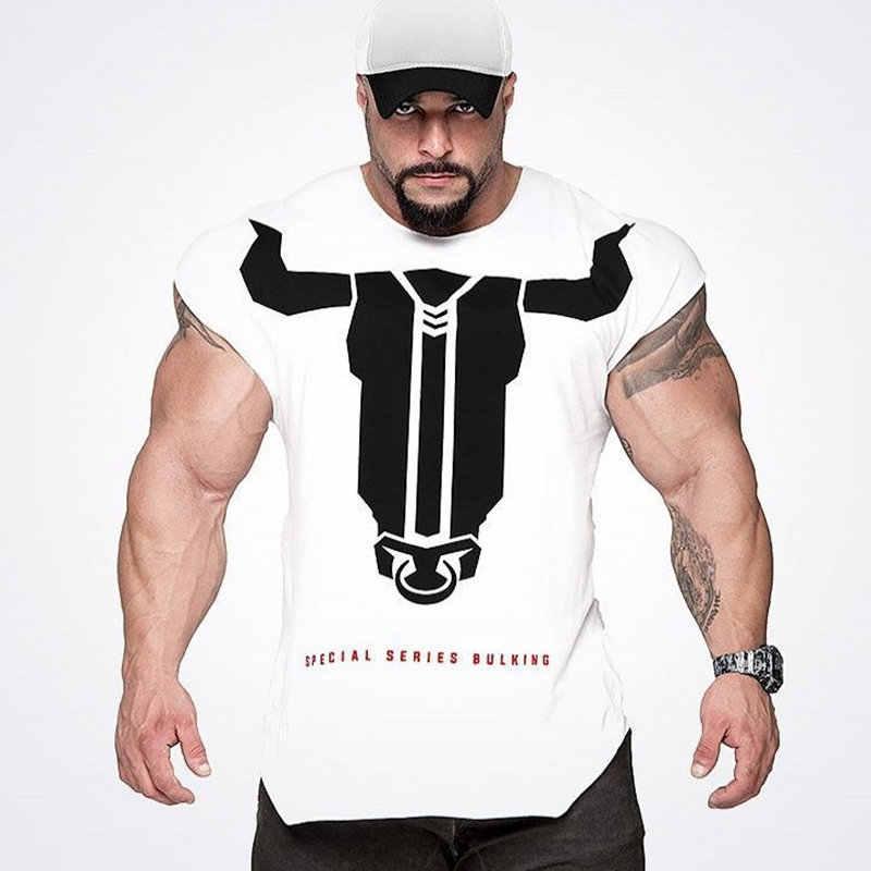 男性ジムフィットネスボディービルスリム Tシャツ筋肉男夏カジュアルプリント Tシャツ男性トレーニング綿 Tシャツトップス少年服