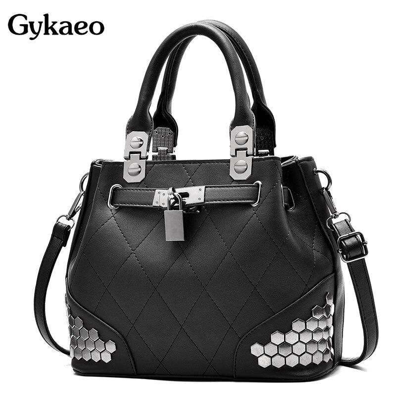 Gykaeo Tote Bags Handbags Women Famous Brands 2019 New Summer Female Fashion Handbag Plaid Rivet Sequined Messenger Shoulder Bag