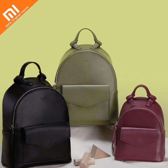 Original xiaomi mijia minimalist leather backpack ladies big shoulder bag small backpack suitable for travel, travel, shopping