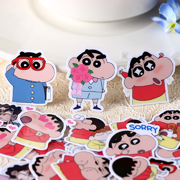 40pcs Creative Cute Self-made Crayon Shin-chan Nowara Shnnosuke Scrapbooking Stickers/decorative Sticker /DIY Craft Photo Albums
