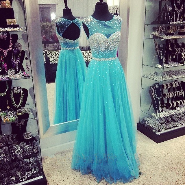08c4d4ee6db8 Tulle Beaded Open Back Prom Dress Ice Blue Long Prom Dresses 2015 A Line  Formal Gowns To Party Vestido De Formatura