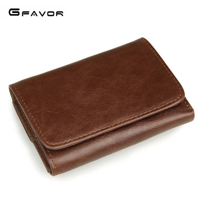 G-FAVOR Brand Genuine Leather Wallets Men Mini Coin Purse Men Vintage RFID Wallet Male Tri-fold Short Style Luxury Brand Purse