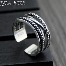 Fyla Mode 925-sterling-silver Braided Hollow Open Rings For Women Do The Old Fashion Lady Sterling Silver Jewelry 8.20mm 3.6G