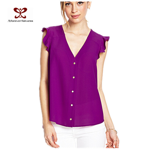 a2d0521b1e346 Women Tops White Black Light Purple Dark Purple Red Women Chiffon Tops  Sleevelse Women Plain V Neck Top SKU-134
