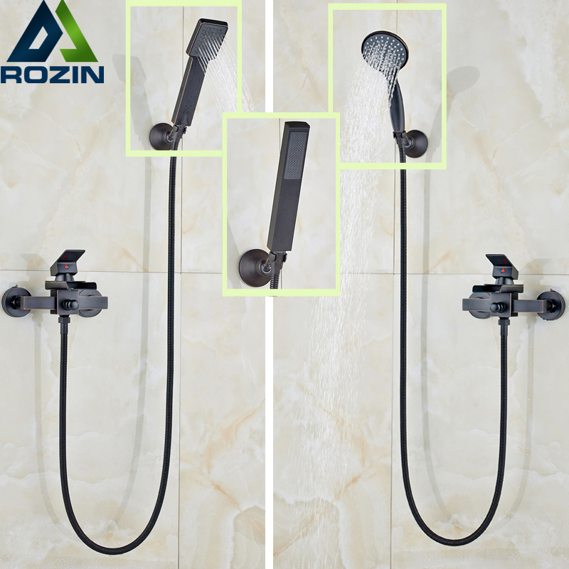 Oil Rubbed Bronze Waterfall Handheld Bathtub Shower Faucet Wall Mounted Waterfall Tub Filler with Handshower Bracket allen roth brinkley handsome oil rubbed bronze metal toothbrush holder