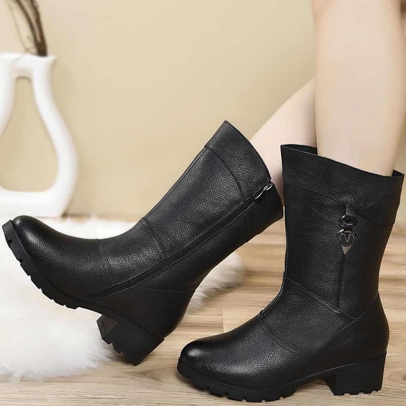 Zapatos DONGNANFENG de piel auténtica para mujer, botas de media pantorrilla con cremallera para invierno, piel de felpa cálida de talla grande 43 BH-662