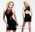 2015 Fashion Black Glitter Christmas Cocktail Party Dress Short Backless Sexy Dress to Party Vestidos de Coctel