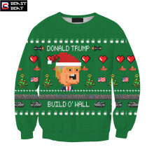 2017 Christmas Trump Photo 3D Cartoon Pattern Build O' Wall Green Sweater Creative Boys Girls Holiday Gift Sports Warm Sweater