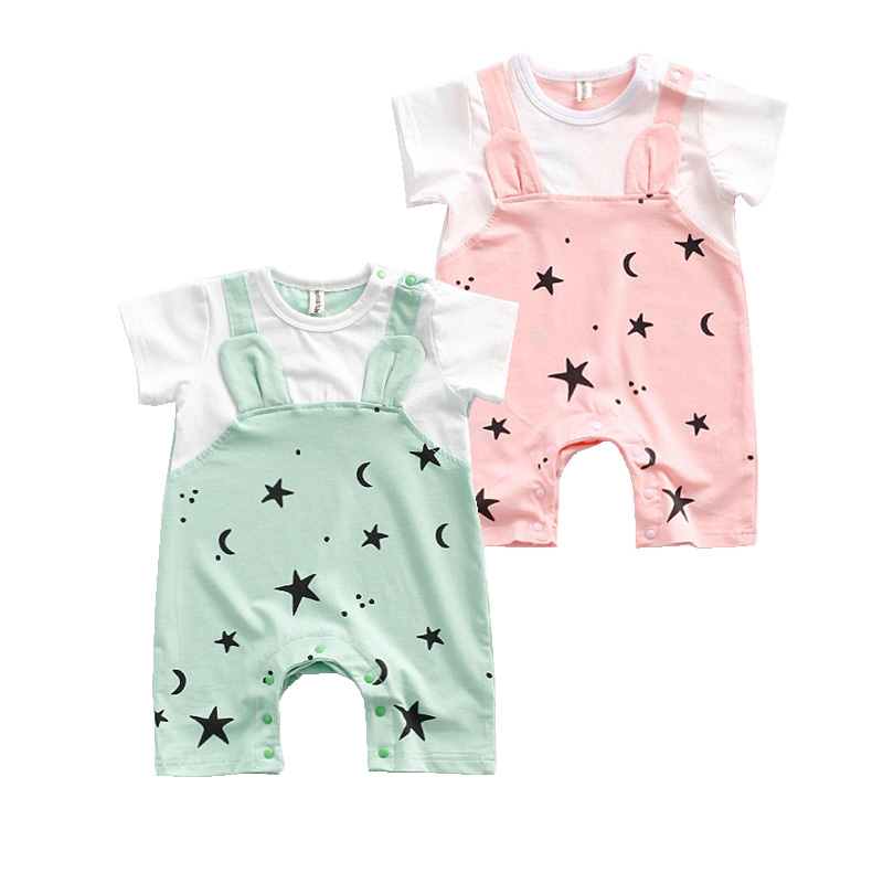 Summer Baby Boys Girls Rompers Cotton Moon Star Printed  New Born Baby Jumpsuit Clothing Cute Ear Newborn Babies Clothes new 2017 brand quality 100% cotton newborn baby boys clothing ropa bebe creepers jumpsuit short sleeve rompers baby boys clothes