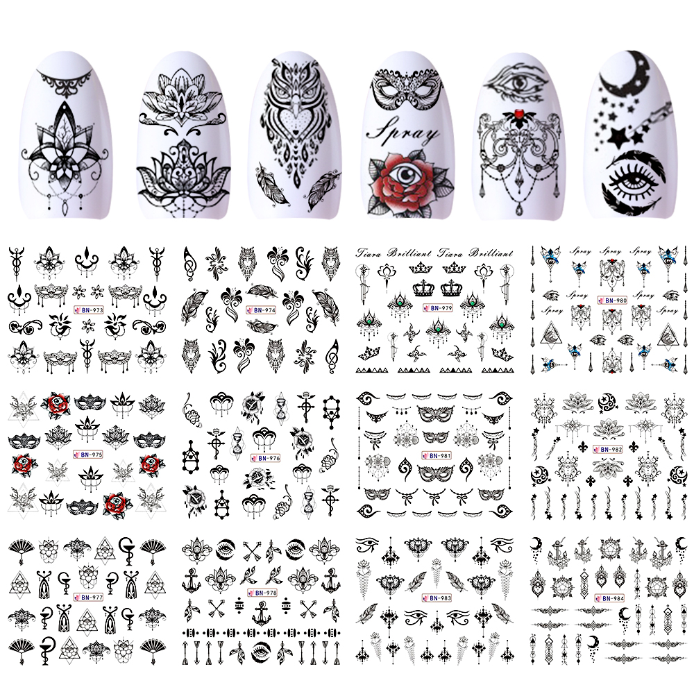 12 Designs Water Stickers Transfer Black Nail Decals Flowers Feather Owl Wraps Manicure Necklace Decor Tattoos Tips JIBN973-984
