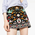 saias 2016 Women Vintage Ethnic Embroidery A-Line Mini Skirt Side Zipper Casual Quality  jupe courte faldas  JJWM1381241