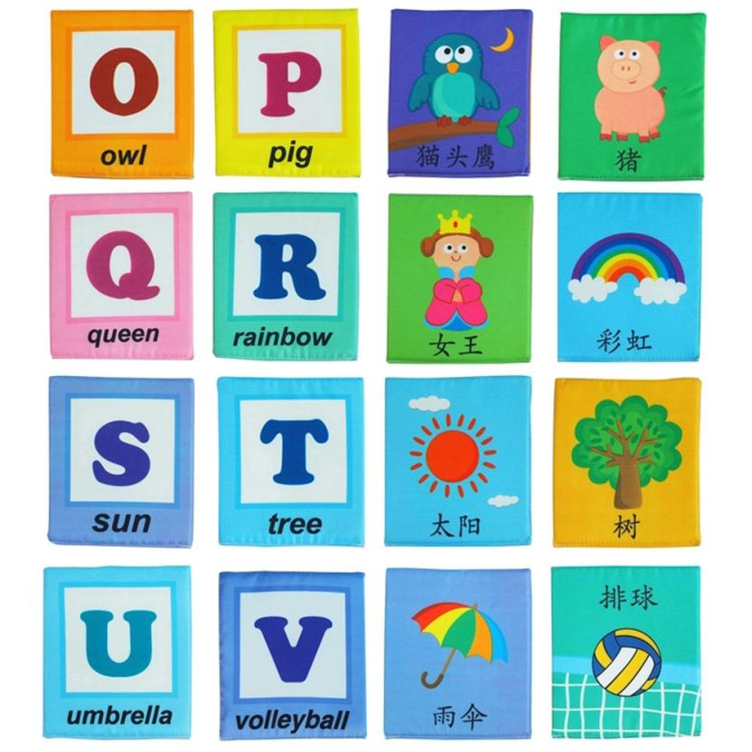 26 Letters Cloth Card with Cloth Bag Early Education Toy post card learning resources juguetes educativos 2-1517#