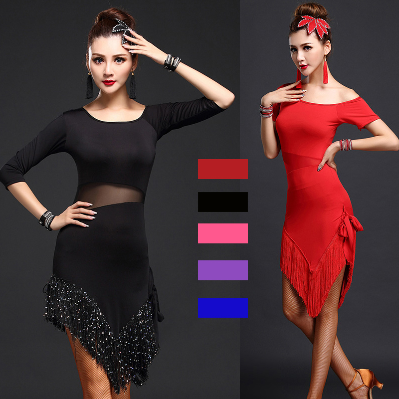 2017 New Brand Black Red Latin Dance Dress Women Smooth Fringe Tango Dress Rumba Skirt Samba Costume Ballroom Latin Dress