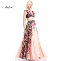 TIANMIYUEDING 3 Designs Evening Dresses Flower Pattern Floral Print Chiffon Evening Dress Gowns Party Long Prom