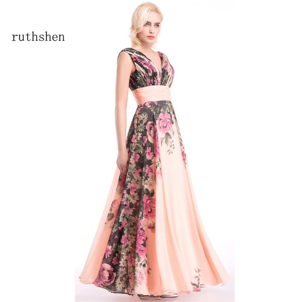 ruthshen 3 Designs Evening   Dresses   Flower Pattern Floral Print Chiffon Evening   Dress   Gowns Party Long   Prom     Dresses   2018