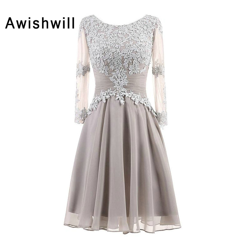 2020 Fashion Formal Evening Gown Lace Appliques Chiffon With Three Quarter Sleeves Mother Of The Bride Dresses Custom Made