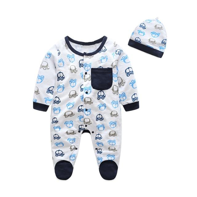 f73b7230e05d Baby Romper Hat 2018 Cartoon Airplane Rompers Jumpsuit+Cap 2pcs ...