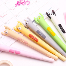 6 pcs Be happy Cartoon gel pen Kawaii frog bear cat rabbit 0.5mm ballpoint Black color gift  School supplies FB529