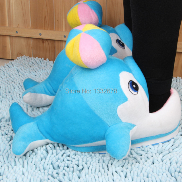 Fuzzy Shoes Stuffed Dolphins Plush Toy Home Funny Women Men Slippers