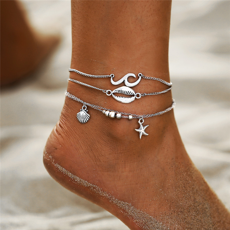 Boho Ocean Beach Scallop Shell Starfish Anklets for Women Vintage Multi Layers Ankle Bracelet Foot Leg Bracelet Summer Jewelry