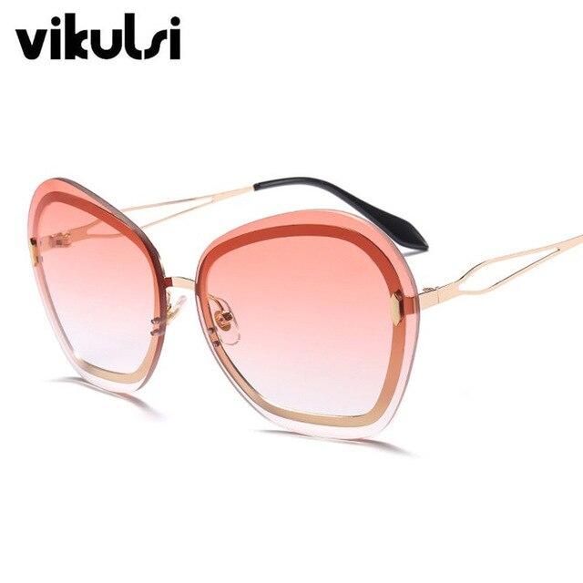 3c6d6c6f168db Luxo Rosa Gradiente Óculos Sem Aro Redondo oculos Feminino Retro Vintage  Marca Designer Óculos De Sol