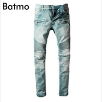 Batmo 2018 new arrival spring high quality fashion casual slim Pleated jeans men,men's casual jeans ,plus size 28 42 981