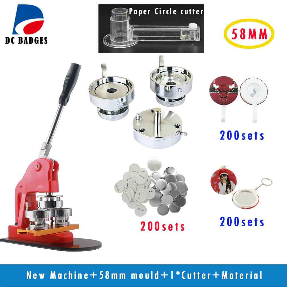 New Pro 2 1/4 58mm  Badge Press Machine + Adjustable Circle Cutter+200sets Pinback Badge material+ free shipping new pro 1 1 4 32mm badge button maker machine adjustable circle cutter 500 sets pinback button supplies