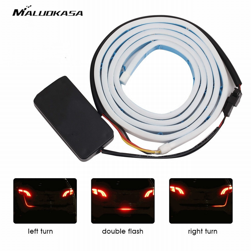 MALUOKASA 120CM Tri-Color Car LED Strip Light Atmosphere Lamp Auto Rear Trunk Decorative Light Car-Styling Turn Signal Indicator decorative under car auto lamp colorful led light strip decoration