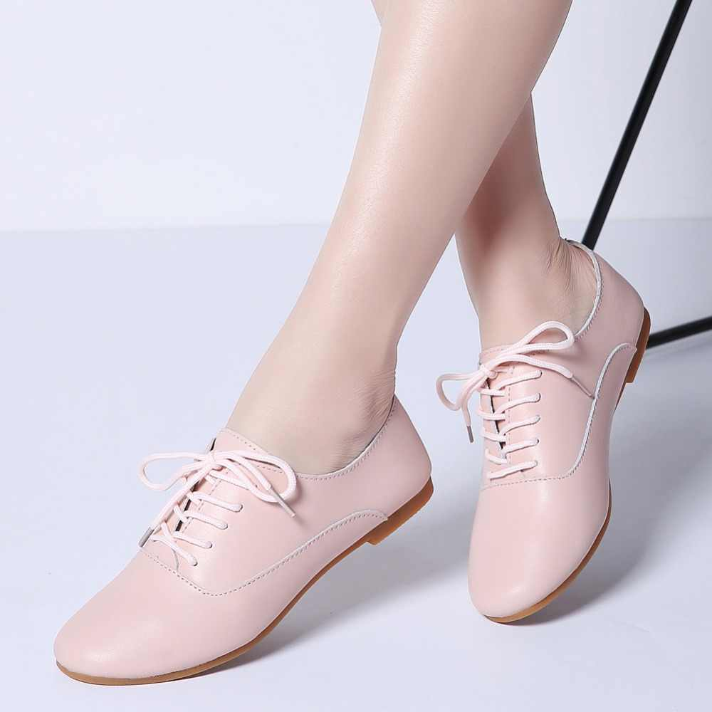 dee56d39c4 ... 2019 Spring Ladies Ballet Flats Shoes Genuine Leather Woman Loafers  Ballerina Flat Chaussure Femme Oxford Shoes