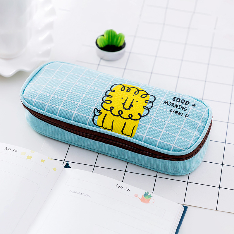 New Good Morning Cute Cartoon Animal Canvas School Pencil Cases Stationery Pencilcase Kawaii Pen Bag Girl Pencil Case For School in Pencil Bags from Office School Supplies