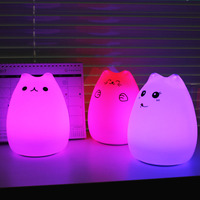 Novelty Colorful Cartoon Night Lamp LED Silica Gel Animal Lights Touch Lovely Cat Shape For Baby