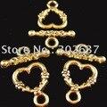Бесплатная доставка 60 набор золото под старину цветочный сердце тумблер застежки A1086G - фото
