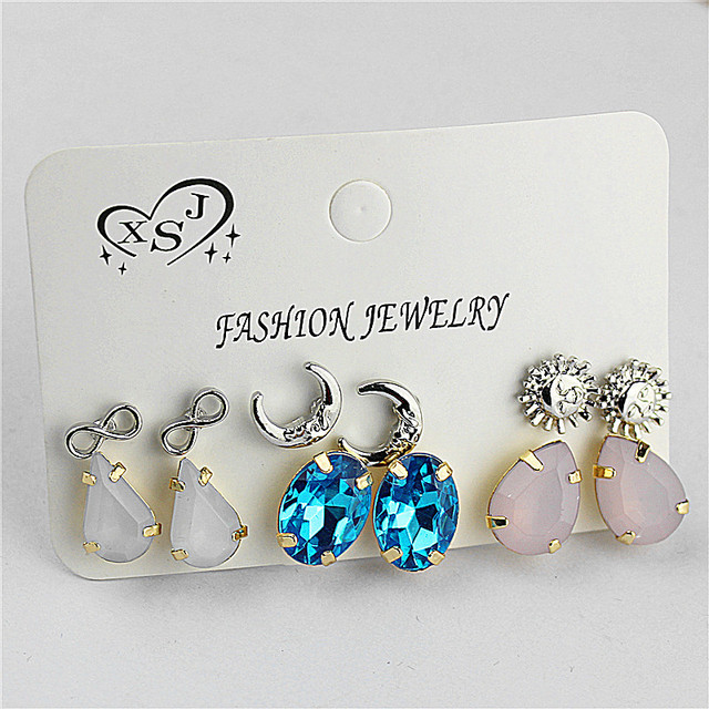 Hot new style women jewelry Girl Birthday Party pink ear nail moon sun 6 pairs of /set mixed set of ear ring agent shipping 2
