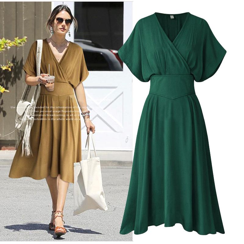 Summer Dress V Neck Elastic Empire Waist Women Casual Dress Vintage Style  Sundress Robe Femme Batwing ... 879a6a4ae354