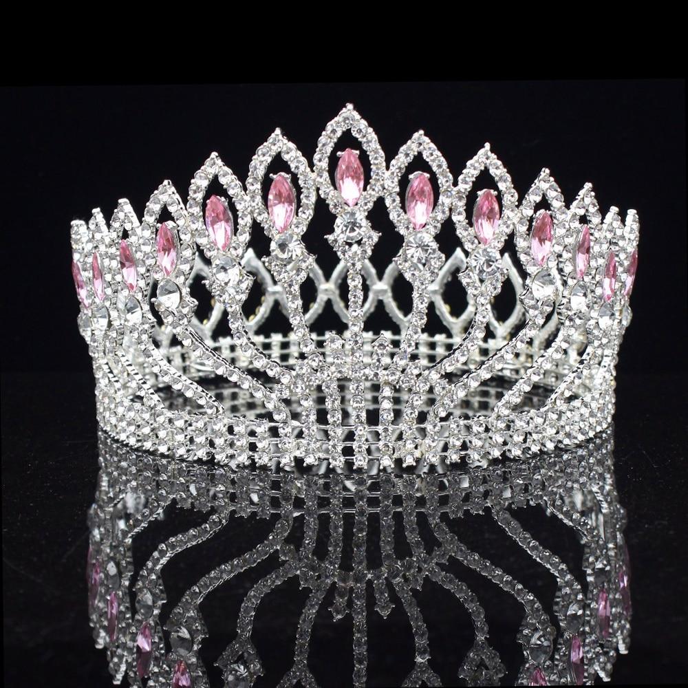 Queen King Wedding Bridal Tiaras and Crowns Pink Crystal Silver Bride Headpiece Women Diadem Wedding Hair Jewelry accessories