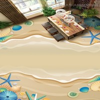 Free Shipping Self Adhesive Waterproof Living Room Bathroom Flooring Wallpaper Mural Home Decoration HD Beach Shell